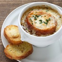 French onion soup topped with Gruyere cheese