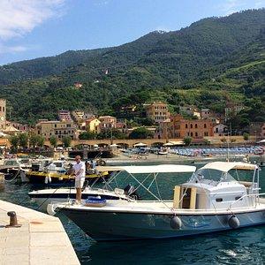 Quick Silver moored in Monterosso harbor