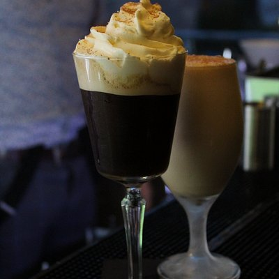 43 Minutes to Midnight, Tequila, Licor 43, Coffee, Maple Syrup, Caramel Whipped Cream