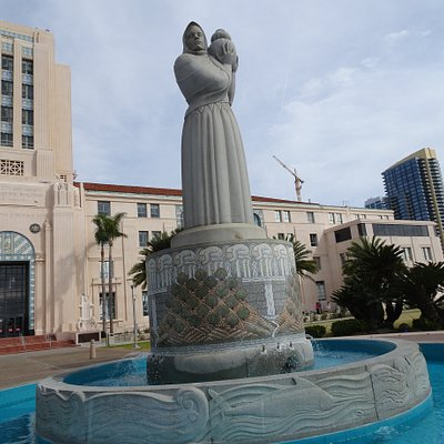 The scu;pture stands in front of the county administration building