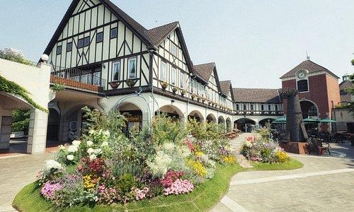 展望エリアのウェルカムガーデンは神戸布引ハーブ園に訪れたゲストを季節の花々でお迎えいたします