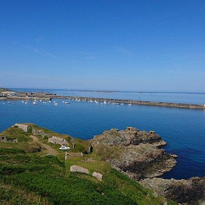 View from Victorian Fort Albert over Braye Bay/harbour