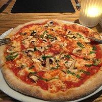 Margarita pizza with mushrooms