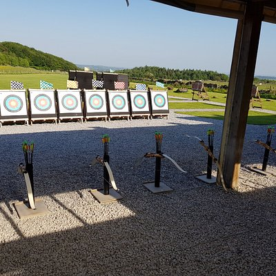 Targets and bows set up ready for group