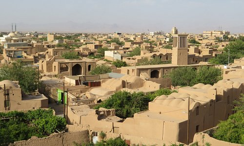 View to the old town filled with mud brick buildings