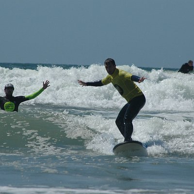Our instructors are as stoked as the customers when they get it right in our surf lessons