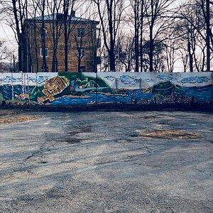 Граффити напротив входа в Музей Трепанга, Владивосток 2018