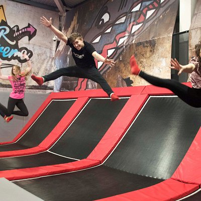 The Freestyle area is our main area of the trampoline park, filled with interconnected trampolin