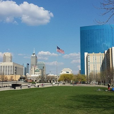 The Indianapolis skyline in the background.