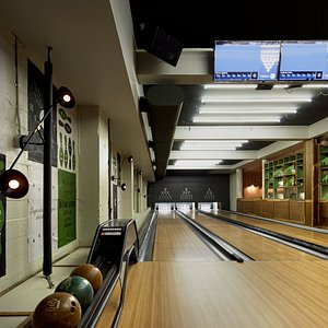 Fifth Arrow's three bowling lanes -- the only bowling alley in Union Square.
