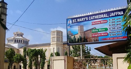 If you're looking for a church in Jaffna with mass celebrated in English every Saturday 5PM