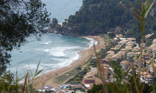 Glyfada sandy beach in Corfu