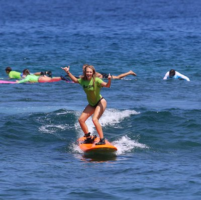 Smiles for miles surf lessons with Kona Town Surf Adventures