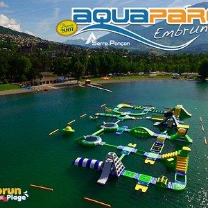 Plus Grand parc aquatique du Serre Poncon . EMBRUN PLAGE