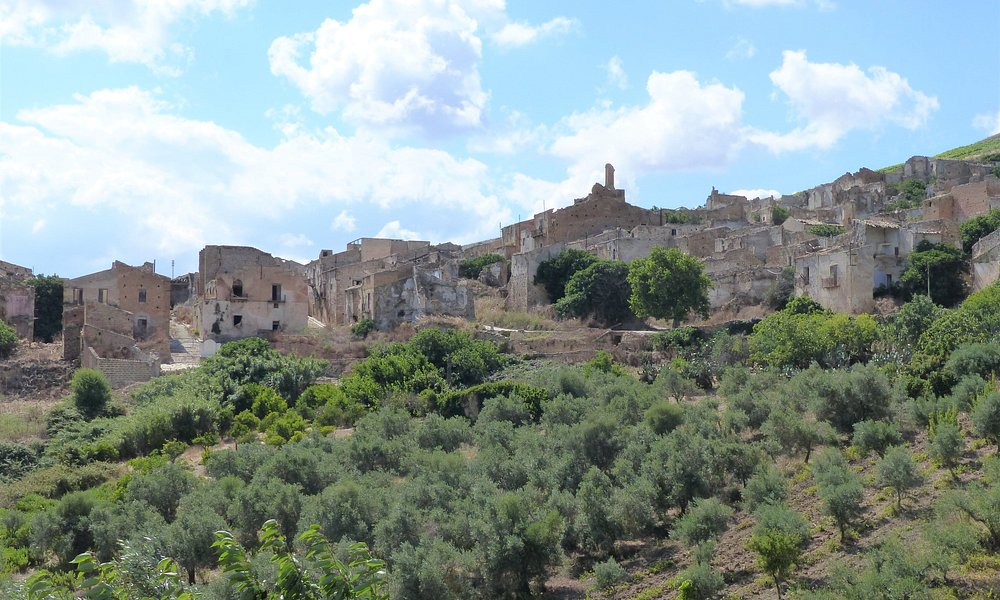 The ruins of Poggioreale viewed from below the town