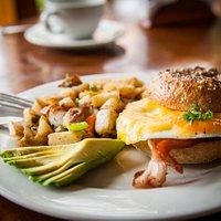 Fried Egg and Cheese w/ Avocado, Bacon, and Sautéed Potatoes