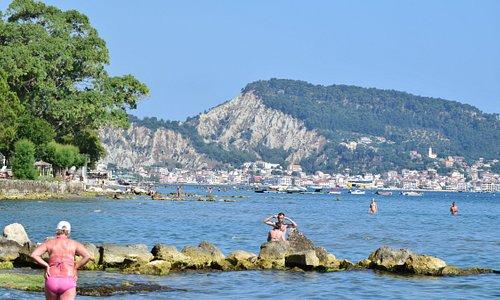The view across the Zakynthos Town from Thomas Elena Beach Bar