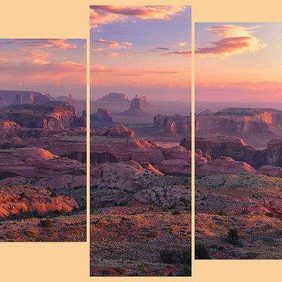 Hunt's Mesa Sunrise, Monument Valley - 5 panel metal or canvas print.