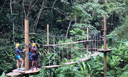 Rainforest Ropes Course , Obstacle challenge, overlooking the river and Seven Sister falls