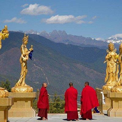 Monks enjoying the fresh mountain air at Buddha point Thimphu