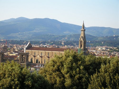 The Church of Santa Croce, seen from the Rose Garden, near Piazzale Michelangelo.