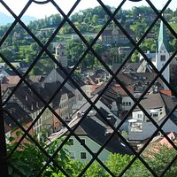 Feldkirch Old Town from a window at the entrance of Schattenburg Museum