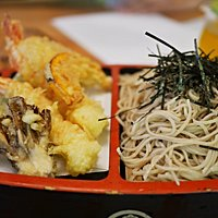 A classic favorite: Tenzaru...cold soba noodles served with a selection of  tempura