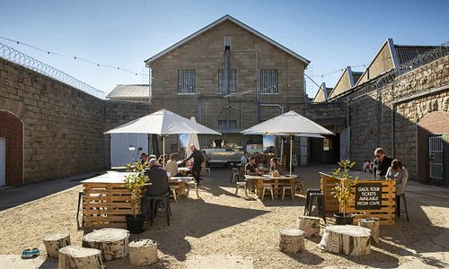 The Old Gaol Courtyard. Home to the Old Gaol Café, operating from a retro 1964 Airstream Caravan