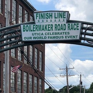 Finish Line in Industrial Area with Bars and Restaurants