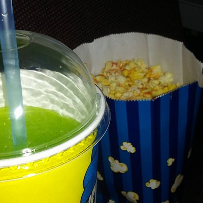 Lime Slushy and Vegan Popcorn