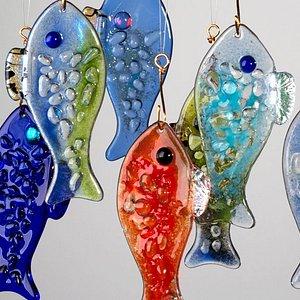 Beautiful handmade fish glass ornaments!