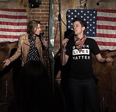 Cameron Esposito and Rhea Butcher at a Capital Laughs show at Town Tavern