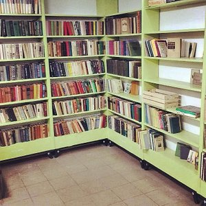 First hall in provence style with popular fiction used books.