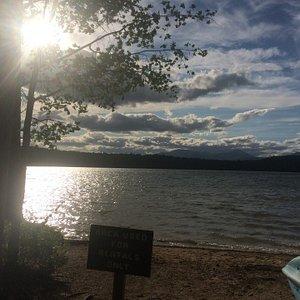 White lake at sunset.