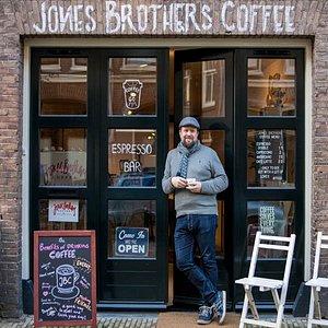 Mr Jones outside his espresso bar!