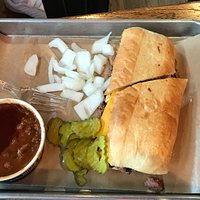Chopped brisket on hoagie roll—they  were out of buns