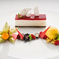 Orangerie Buffalo yougurt with red fruit s and meringue