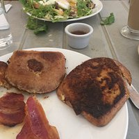 The 2 HEELS of Gluten Free French Toast well done along with the Bacon