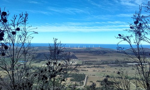 View from the top showing wind farm