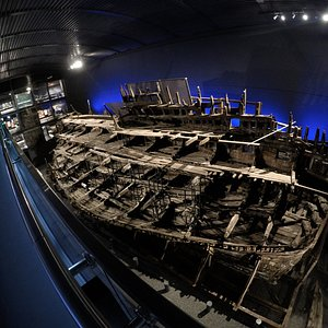 The Mary Rose, seen from the top deck of the museum