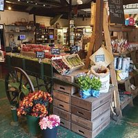 The farm shop's seasonal display cart