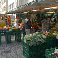 Produce vendor at the Saturday Market