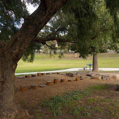 Shady tree, seats, water