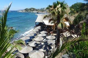 private beach and bar