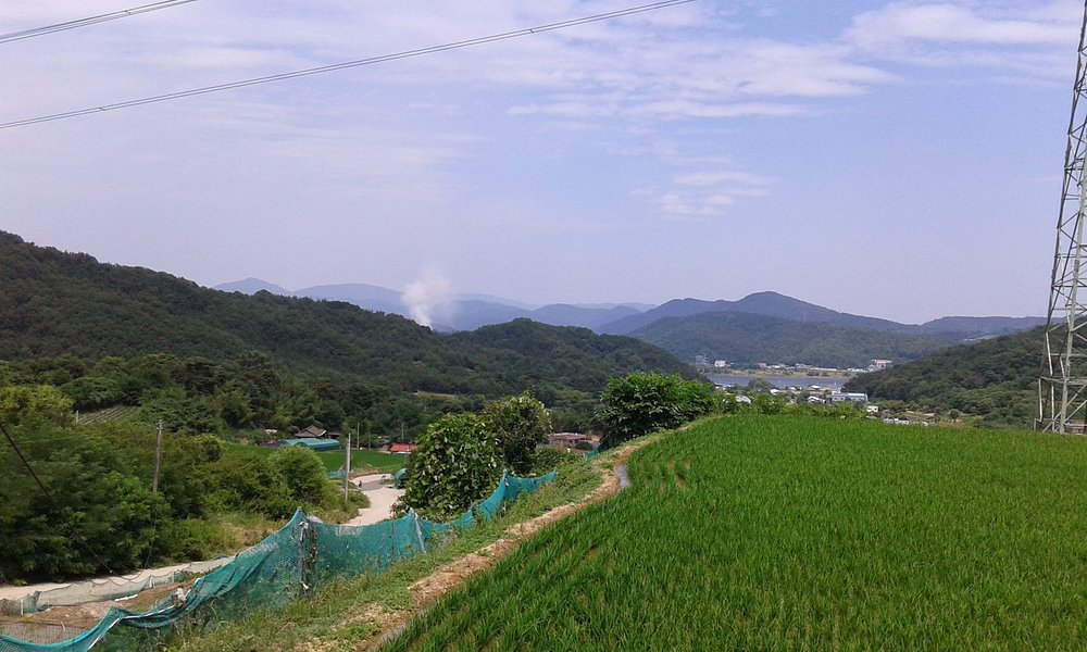 Au pied du sentier, coup d'oeil sur la vallée et le fleuve Nakdong