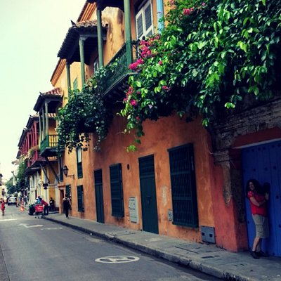 Calle de la ciudad amurallada, Cartagena, Colombia