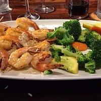 Red Rock Grilled Shrimp on rice with mixed vegetables