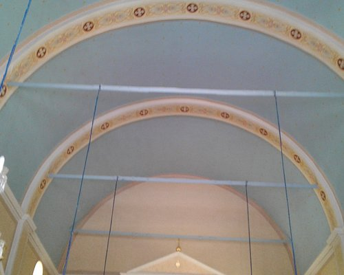 The arched roof of the Church