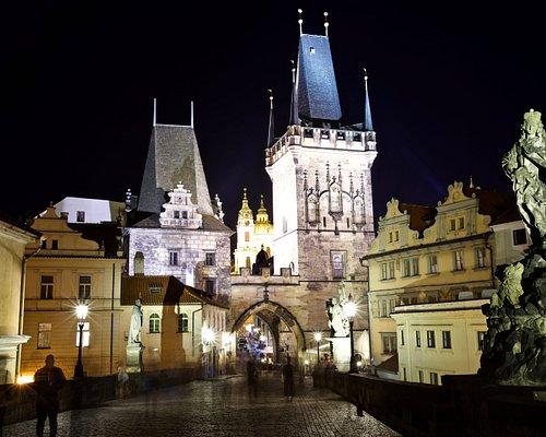 Old Town Bridge Tower at night