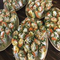 Fresh summer rolls and chicken stay
